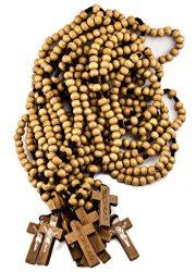 Dozen-Catholic-Praying-Rosary-Jesus-Crucifix-Jerusalem-Olive-Wood-Beads-124-0