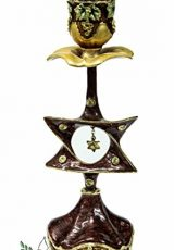 Enameled-Dark-Red-Star-of-David-Candle-Holder-87-Pewter-with-Zircon-Crystals-0