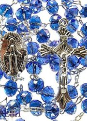 Fine-Blue-Crystal-Beads-Rosary-Catholic-Necklace-Miraculous-Medal-Crucifix-0