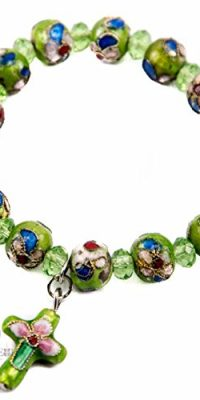 Flowers-Beads-Green-Color-Bracelet-With-Crystals-Cross-Stretchable-Jerusalem-0