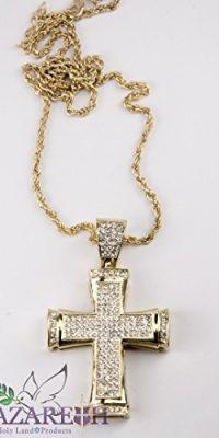 Gold-Plated-Cross-Pendant-Chain-Necklace-with-Zircon-Crystals-Jerusalem-Fashion-0-1
