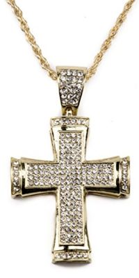 Gold-Plated-Cross-Pendant-Chain-Necklace-with-Zircon-Crystals-Jerusalem-Fashion-0
