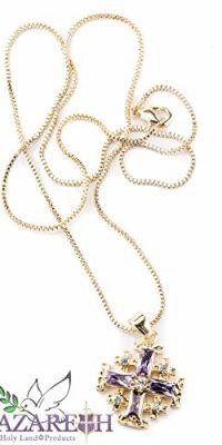 Gold-Plated-Jerusalem-Cross-Pendant-Necklace-Purple-Sapphire-Ruby-Zircon-07-0