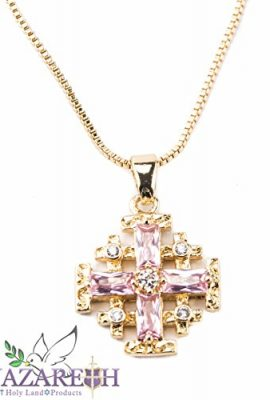 Gold-Plated-Jerusalem-Cross-Pendant-Necklace-with-Zircon-Sapphire-Pink-Gem-0