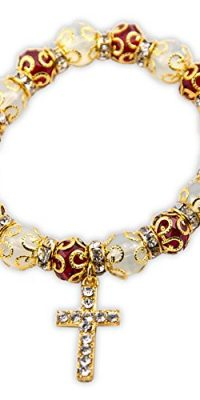 Golden-Agate-Beads-Stretchable-Bracelet-With-Red-Crystals-Cross-Jerusalem-0