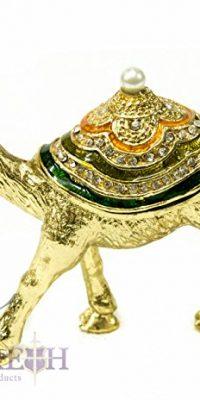 Golden-Camel-Bejeweled-Zircon-Crystals-Pearl-Enamel-Trinket-Box-Figurine-35-0