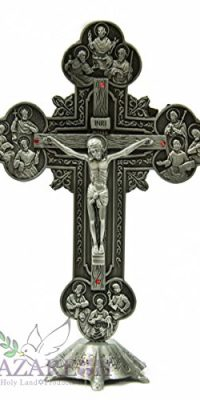 Greek-INRI-Jesus-Christ-Cross-Statue-Silver-Metal-With-Red-Zircons-Crystals-94-0