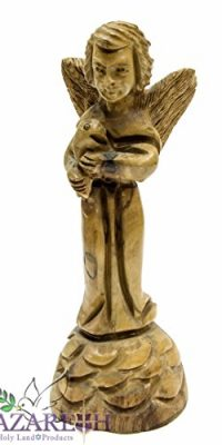 Hand-Carved-Olive-Wood-Angel-Holding-Fish-55-Statue-Sculpture-Holy-Land-0