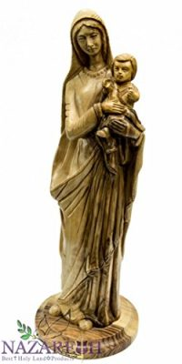 Hand-Carved-Olive-Wood-Virgin-Mary-Holding-Baby-Jesus-123-Statue-Holy-Land-0