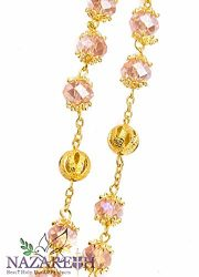 High-Quality-St-Benedict-Gold-Plated-with-Light-Pink-Crystal-Miraculous-Rosary-0-0