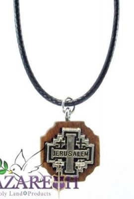 Jerusalem-Cross-Silver-Plated-Necklace-Olive-Wood-Handmade-Pendant-Holy-Land-0-0