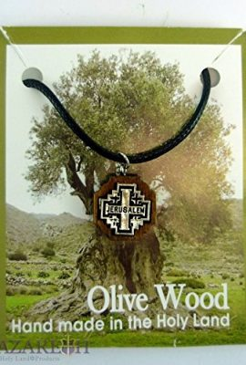 Jerusalem-Cross-Silver-Plated-Necklace-Olive-Wood-Handmade-Pendant-Holy-Land-0-1