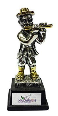 Jewish-Figurine-Hasidic-Klezmer-Play-Flute-Silver-925-Gold-Plated-Jerusalem-0
