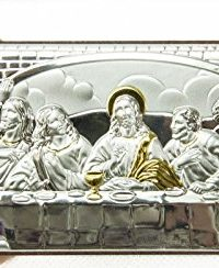 Last-Supper-Of-Jesus-65-Sterling-Silver-950-9K-Gold-Icon-Plaque-Holy-Land-0-0