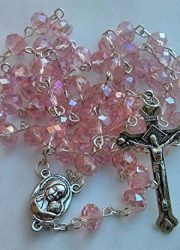 Light-Pink-Crystal-Beads-Rosary-Catholic-Necklace-Miraculous-Medal-Crucifix-0
