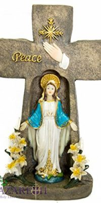 Miraculous-Virgin-Mary-Candle-Holder-Cross-Shaped-Peace-Madonna-Statue-Nazareth-0