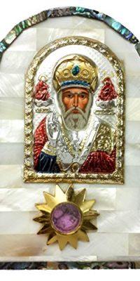 Mother-Of-Pearl-Shell-Icon-ST-NICHOLAS-Silver-Russian-Greek-JERUSALEM–0