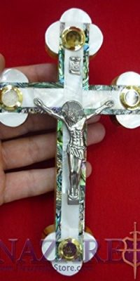 Mother-of-Pearl-Cross-Crucifix-on-Olive-Wood-Base-71-Handmade-From-Holy-Land-0-0