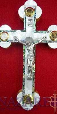 Mother-of-Pearl-Cross-Crucifix-on-Olive-Wood-Base-71-Handmade-From-Holy-Land-0
