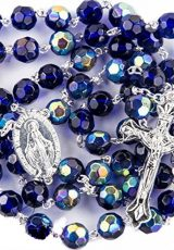 New-Catholic-Rosary-Blue-Crystal-Beads-Necklace-Miraculous-Medal-Crucifix-0