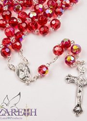 New-Catholic-Rosary-Red-Crystal-Beads-Necklace-Holy-Mary-Crucifix-Jerusalem-0-0