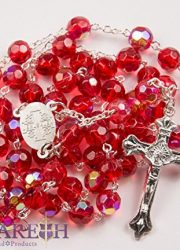 New-Catholic-Rosary-Red-Crystal-Beads-Necklace-Holy-Mary-Crucifix-Jerusalem-0