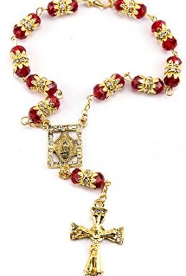 Red-Crystal-Zircon-Beads-Gold-Color-Beads-Car-Rearview-Mirror-Rosary-Jerusalem-0