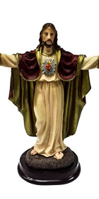 Sacred-Heart-Of-Jesus-Christ-Figurine-Hand-Painted-Resin-Statue-Holy-Land-83-0
