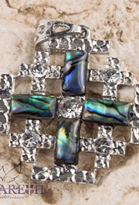 Shell-Jerusalem-Cross-Pendant-Silver-Plated-with-Zircon-Crystals-Holy-Land-17-0-0