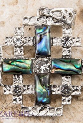 Shell-Jerusalem-Cross-Pendant-Silver-Plated-with-Zircon-Crystals-Holy-Land-17-0