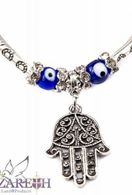 Silver-Plate-Hamsa-Bracelet-with-Blue-Crystals-Glass-Evil-Eye-Protection-Beads-0-0