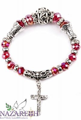 Silver-Plated-Catholic-Bracelet-with-Red-Crystals-Cross-Stretchable-Ornament-0