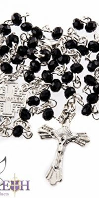 Small-Catholic-Black-Crystals-Beads-Rosary-Carrying-Necklace-with-Metal-Cross-0