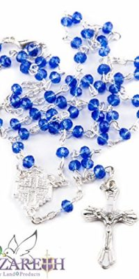 Small-Catholic-Blue-Crystals-Beads-Rosary-Carrying-Necklace-with-Metal-Cross-0