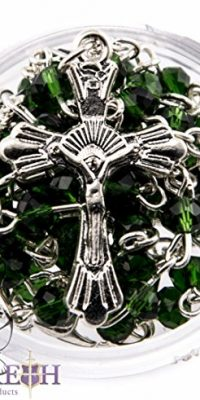 Small-Catholic-Green-Crystals-Beads-Rosary-Carrying-Necklace-with-Metal-Cross-0-0
