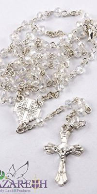Small-Transparent-Crystals-Beads-Rosary-Carrying-Necklace-with-Metal-Cross-0-0