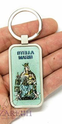 Stella-Maris-Star-of-the-Sea-Keychain-Catholic-Key-Ring-Holy-Land-Charm-24-0
