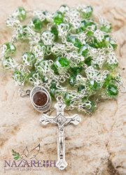 Unique-Green-Crystal-Beads-Catholic-Rosary-with-Holy-Soil-Medal-Crucifix-0-0