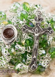Unique-Green-Crystal-Beads-Catholic-Rosary-with-Holy-Soil-Medal-Crucifix-0-2