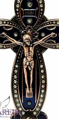 Unique-INRI-Catholic-Crucifix-Metal-Cross-Statue-With-Zircon-Crystals-Holy-Land-0-0