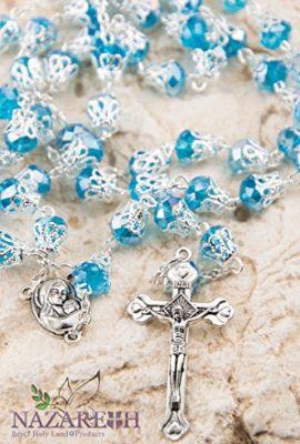 Unique-Light-Blue-Crystal-Beads-Catholic-Rosary-with-Holy-Soil-Medal-Crucifix-0-0