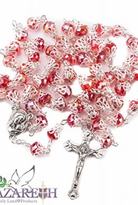 Unique-Red-Crystal-Beads-Rosary-Catholic-Necklace-Holy-Soil-Medal-Cross-0-0