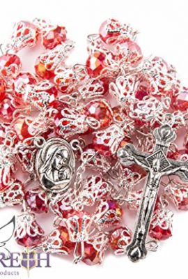 Unique-Red-Crystal-Beads-Rosary-Catholic-Necklace-Holy-Soil-Medal-Cross-0