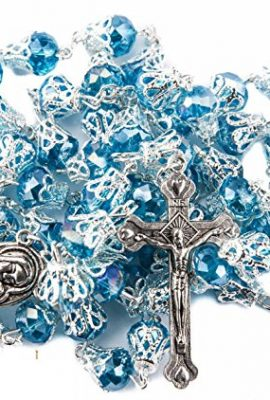 Unique-Turquoise-Crystal-Beads-Rosary-Catholic-Necklace-Holy-Soil-Medal-Cross-0