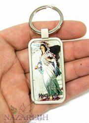 Virgin-Mary-Nazareth-Gift-Keychain-Catholic-Key-Ring-Holy-Land-Charm-24-0-0