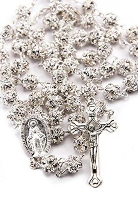 White-Zircon-Crystals-Beads-Rosary-Catholic-Necklace-Miraculous-Medal-Crucifix-0
