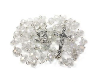 Catholic Rosary Clear Crystal Beads