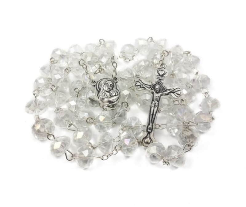 Catholic Rosary Clear Crystal Beads