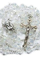 Clear-Crystal-Beads-Rosary-Catholic-Necklace-Holy-Soil-Medal-with-Crucifix-0