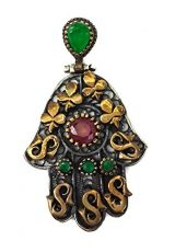 Hamsa-Hand-Of-Fatima-Silver-925-Pendant-Gold-9k-Filigree-Ruby-Emerald-Crystals-0